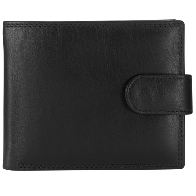 John Lewis Bi-Fold Tab Leather Wallet, Black